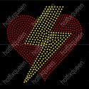 Heart with Lightening Bolt Rhinestud Transfer