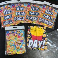SOCK SALE 6 PAIRS - (4)Live Love Emoji Assorted (1)Emoji Tie Dye (1)Fry Day!